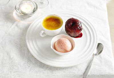 "Recipe: <a href="" /recipes/iplum/8299543/muscat-cr-egrave-me-br-ucirc-l-eacute-e-with-poached-plums-and-plum-sorbet"" target=""_top"">Muscat creme brulee with poached plums and plum sorbet</a>"