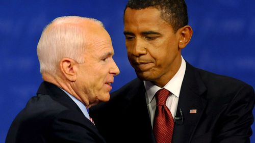 McCain pictured with Barack Obama.