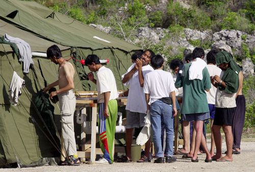 Asylum seekers at the Nauru detention centre.