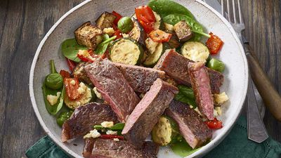 Steak with roasted Mediterranean vegetables