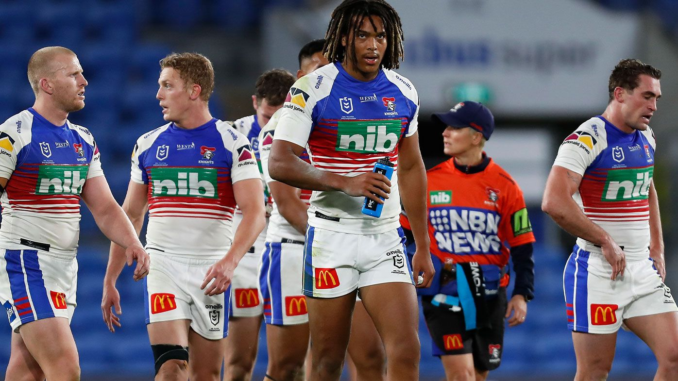 Knights players look dejected after a Storm try during the round 18 NRL match between the Melbourne Storm and the Newcastle Knights at Cbus Super Stadium, on July 17, 2021, in Gold Coast, Australia. (Photo by Regi Varghese/Getty Images)