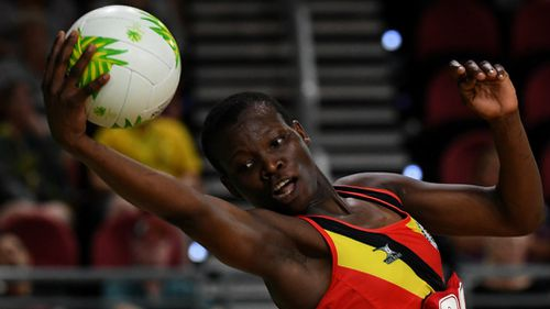 Peace Proscovia of Uganda receives the ball. (AAP)