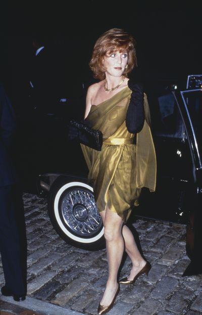 Sarah, Duchess of York exits her car, UK, 20th October 1989.