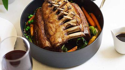 "Recipe: <a href=""http://kitchen.nine.com.au/2016/05/05/10/45/roasted-rack-of-spring-lamb-with-baby-vegetables"" target=""_top"">Roasted rack of spring lamb with baby vegetables</a>"