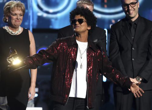Bruno Mars, pictured at the Grammys, played Brisbane in March. Picture: AP