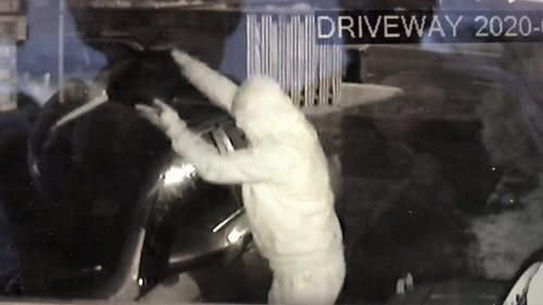 The man was filmed pouring fuel on the car before lighting it.