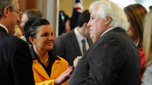 Senator Jacqui Lambie pictured with party leader Clive Palmer, in happier times. (AAP)