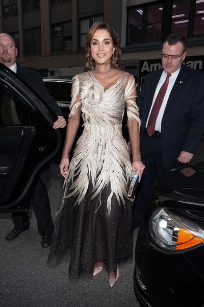 Queen Rania of Jordan in Valentino at the 2016 Met Gala '<em>Manus x Machina: Fashion In An Age Of Technology', </em>May 2016