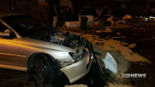 Three occupants from one of the cars were treated for minor injuries. (9NEWS)