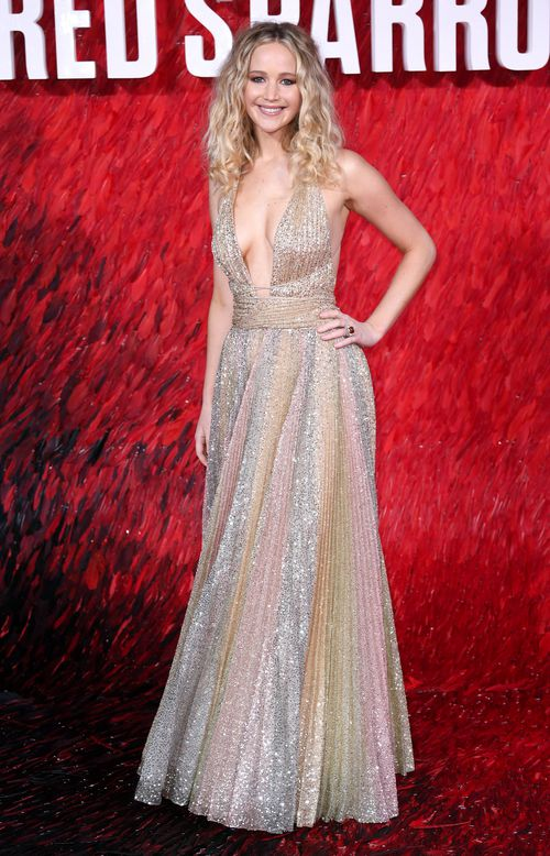 The actress switched from demure at the BAFTAs to downright racy at the Red Sparrow premiere in London. Picture: AAP