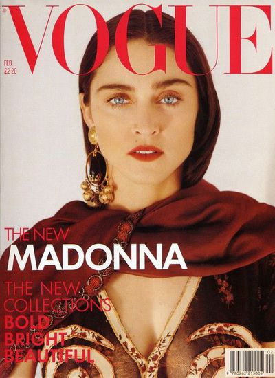 Madonna on the cover of UK Vogue, February, 1989 by Herb Ritts