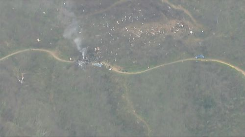 Aerial shot of the helicopter crash, where Kobe Bryant and all passengers on board were killed.