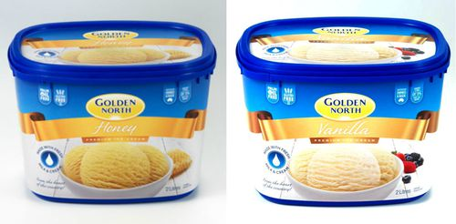 Golden North's 2L Honey and Vanilla tubs are among those products recalled. (Image: Golden North)