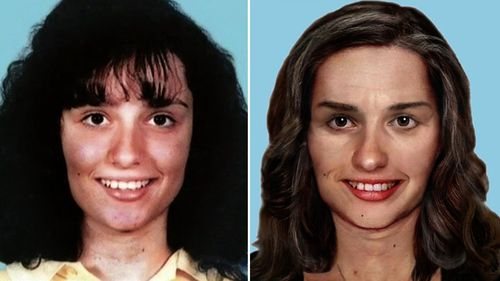 Gordana Kotevski (left) when she went missing in 1994 aged 16 and an AFP artist impression of her at age 41.