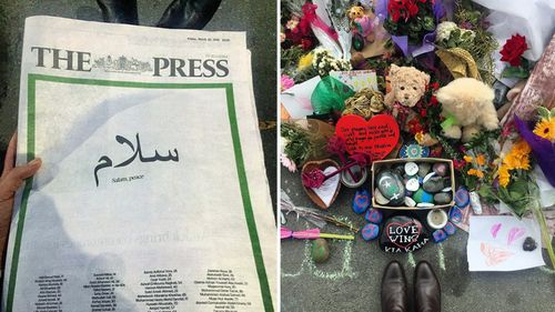 The front page of The Press simply published the names of the victims and the Islamic word for peace.