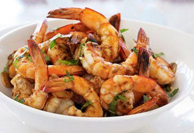 Dinner: Barbecued lemon garlic prawns