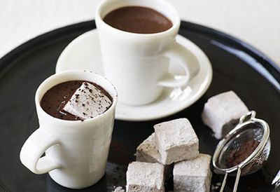 Heart-stopping hot chocolate with chocolate marshmallows