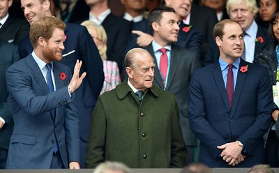 Prince Philip with his grandsons in 2015