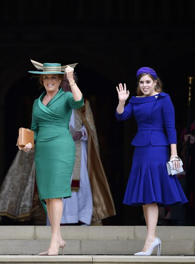 Fergie and Princess Beatrice attend the wedding of Princess Eugenie on 12 October, 2018.