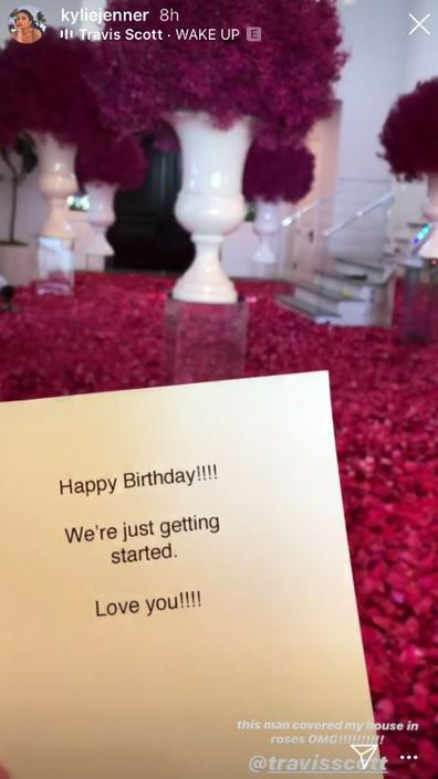 Travis Scott, surprise, roses, flowers, Kylie Jenner, birthday