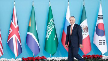 Prime Minster Malcolm Turnbull arrives for the G20 summit in Antalya, Turkey. (AAP)
