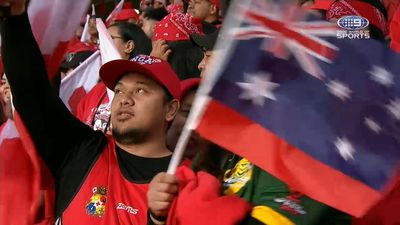 Kangaroos stunned by Tonga fans singing Australia national anthem