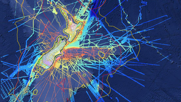This geoscience data webmap shows a compilation of research data including gridded multibeam bathymetry, gravity and magnetic data. Credit: GNS Science