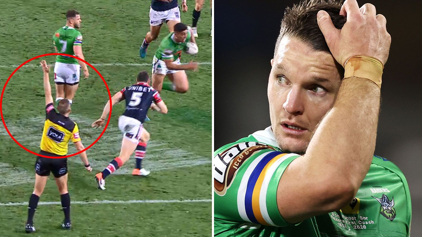 Canberra Raiders' Jarrod Croker sees the lighter side of referee Ben Cummins reunion