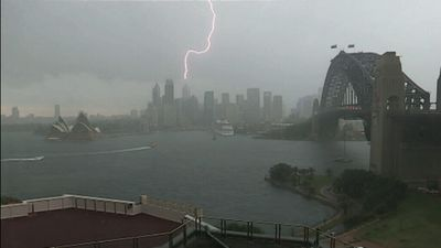 Lightning strikes Sydney as the Bureau of Meteorology issued a Severe Thunderstorm Warning for larger hailtstorms and winds for Sydney, Gosford and the greater Wollongong areas.