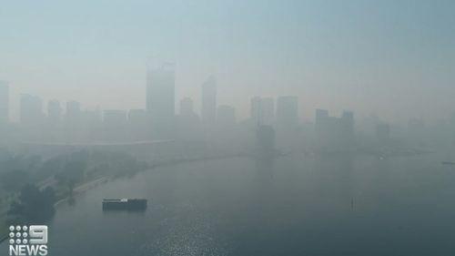 Smoke haze from hazard reduction burns near Perth, WA