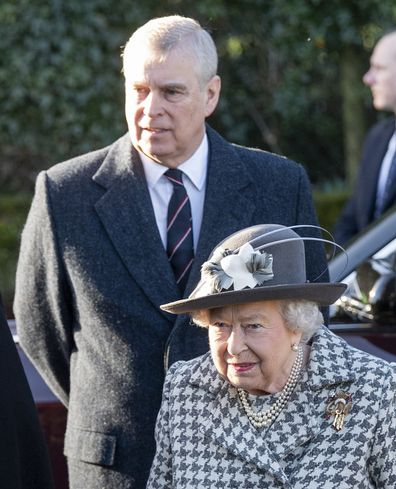 Queen Elizabeth II and Prince Andrew, Duke of York attend church at St Mary the Virgin at Hillington in Sandringham on January 19, 2020 in King's Lynn, England.