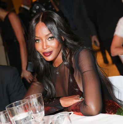 Naomi Campbell at the formal dinner after the Tom Ford show.