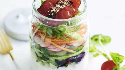 "Recipe: <a href=""http://https://kitchen.nine.com.au/2018/02/14/15/17/hawaiian-tuna-poke-salad-recipe"" target=""_top"" draggable=""false"">Hawaiian tuna poke salad</a>"