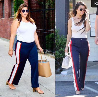 Plus-size blogger Katie Sturino replicating Kourtney Kardashian's look
