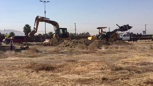 Work begins on a prototype of the border wall with Mexico. (Photo: US Customs)