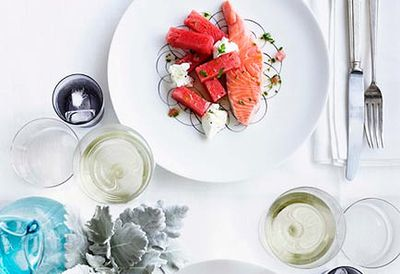 Confit salmon with watermelon