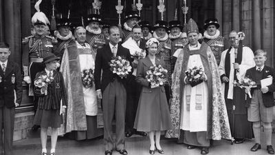 The Queen and Prince Philip at the Royal Maundy Service in 1957
