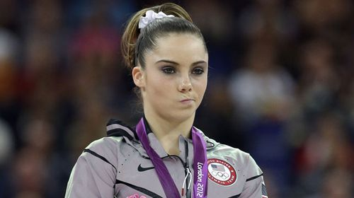 McKayla Maroney at the 2012 Olympics medal podium. (AAP)
