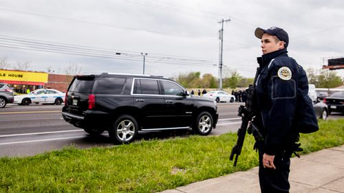 When the gunman's AR-15 jammed, James Shaw sprang into action and hit him with a swivel door. Picture: AP