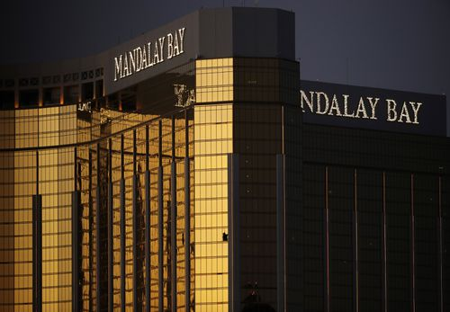 58 people were killed in the massacre last October. The shooter was stationed on the 32nd floor of Mandalay Bay. Picture: AAP