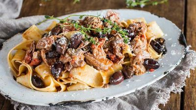 "<a href=""http://kitchen.nine.com.au/2017/04/07/14/41/slow-cooked-lamb-ragu-with-olives-and-pappardelle"" target=""_top"">Slow cooked lamb ragu with olives and pappardelle</a><br /> <br /> <a href=""http://kitchen.nine.com.au/2016/06/06/21/50/load-up-on-these-perfect-pasta-dishes"" target=""_top"">More pasta</a>"