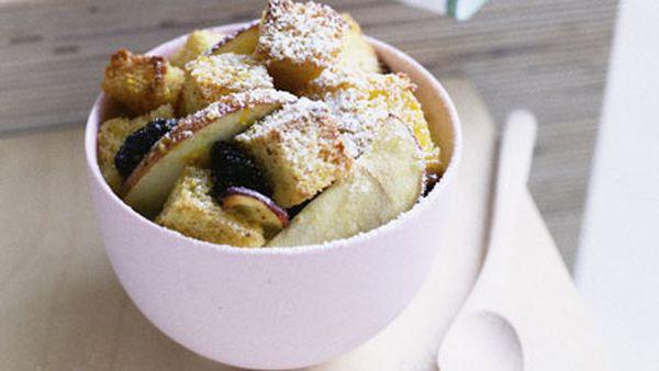 Apple, raisin and brioche pudding