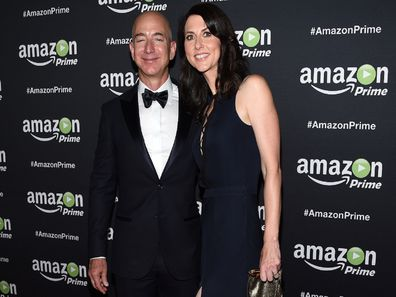 Jeff Bezos with wife at Amazon event