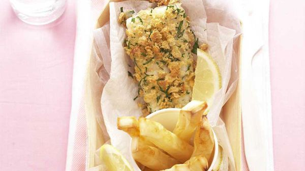 Rice-crumbed fish and chips. Photographer: Jason Hamilton. Stylist: Justine Osborne