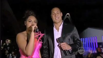 Jessica Mauboy dropped the 'da-butt' clanger during the 2010 Aria Awards. (Source, YouTube)