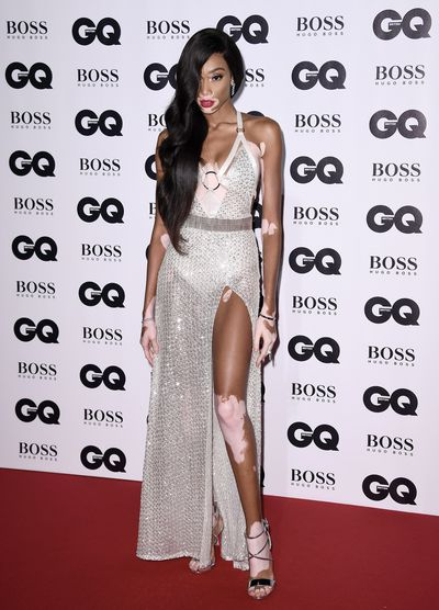 Winnie Harlow in Julien MacDonald at the British GQ Men of the Year Awards
