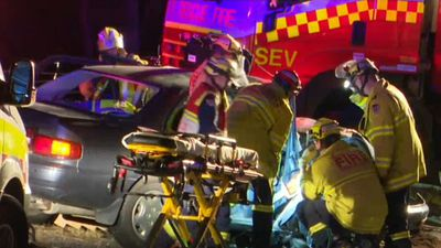 Man rescued from car with head and leg injuries after crash