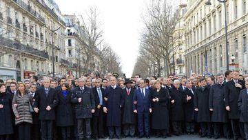 The original photo of world leaders at Sunday's unity rally in Paris. (Supplied)
