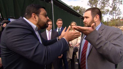 """A confrontation between Islamic Council spokesman Ali Kadri and self-styled """"pastor"""" Logan Robertson took place at a Brisbane mosque."""