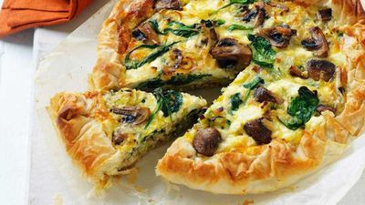 "Recipe:&nbsp;<a href=""http://kitchen.nine.com.au/2017/03/27/11/01/mushroom-and-leek-filo-pie"" target=""_top"">Mushroom and leek filo pie</a>"
